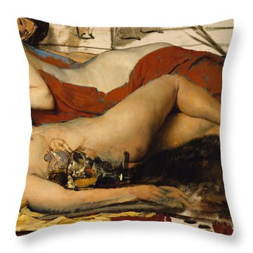 Exhausted Maenides Throw Pillow by Sir Lawrence Alma Tadema