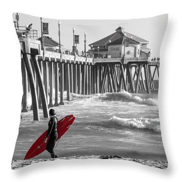 Existential Surfing At Huntington Beach Selective Color Throw Pillow