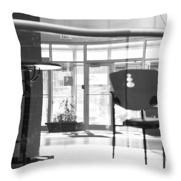 Exit Throw Pillow by Theresa Tahara