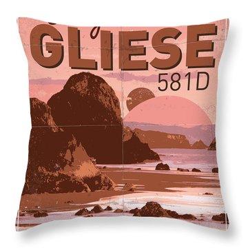 Exoplanet 01 Travel Poster Gliese 581 Throw Pillow
