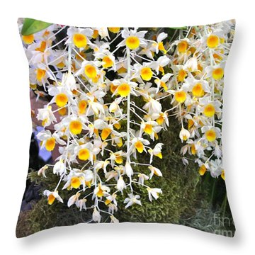 Exotic Aerides Throw Pillow by The Art of Alice Terrill