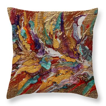 Exotic Flower Abstract Painting Throw Pillow