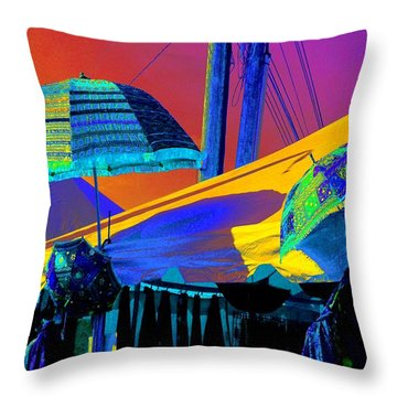 Throw Pillow featuring the photograph Exotic Parasols by Marianne Dow