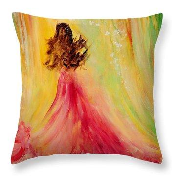 Expecting Throw Pillow by Teresa Wegrzyn