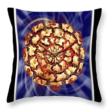 Exploding Clock Throw Pillow by Mike McGlothlen
