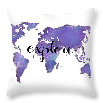 Explore World Map Painting Throw Pillow