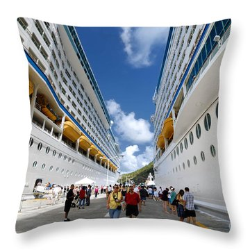 Explorer Of The Seas And Adventure Of The Seas Throw Pillow by Amy Cicconi