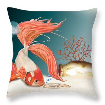 Throw Pillow featuring the painting Exploring The Deep by Anne Beverley-Stamps