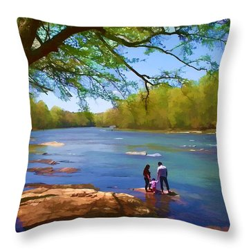 Exploring The River Throw Pillow