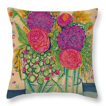 Expressive Flowers Throw Pillow
