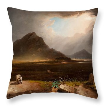 Extensive Landscape With Stonemason Throw Pillow by Daniel M. Mackenzie