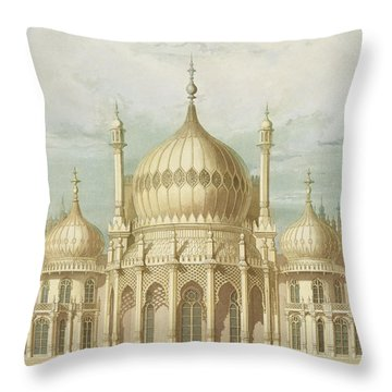Exterior Of The Saloon From Views Of The Royal Pavilion Throw Pillow