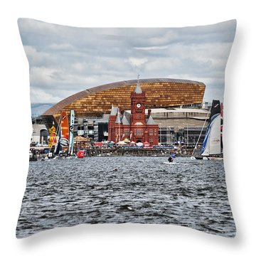 Extreme 40 At Cardiff Bay Throw Pillow by Steve Purnell