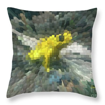 Throw Pillow featuring the photograph Extrude Yellow Frog by Donna Brown