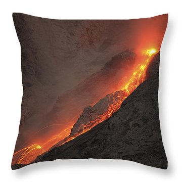 Extrusion Of Lava On Glowing Rockfalls Throw Pillow by Richard Roscoe