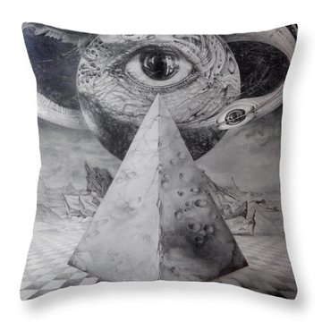 Throw Pillow featuring the drawing Eye Of The Dark Star - Journey Through The Wormhole by Otto Rapp