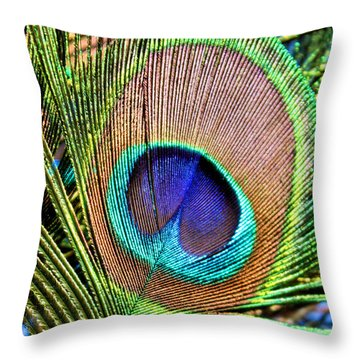 Eye Of The Feather Throw Pillow