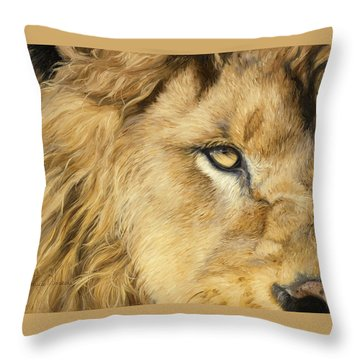 Eye Of The Lion Throw Pillow by Lucie Bilodeau