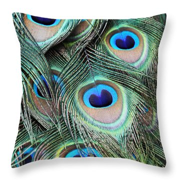 Throw Pillow featuring the photograph Eye Of The Peacock #2 by Judy Whitton