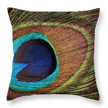 Eye Of The Peacock Throw Pillow by Judy Whitton