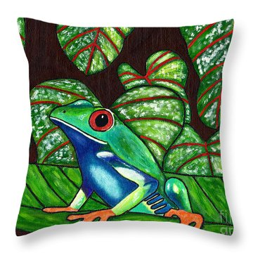 Throw Pillow featuring the painting Eye On You by Laura Forde