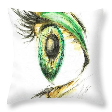Eye Opener Throw Pillow by Teresa White