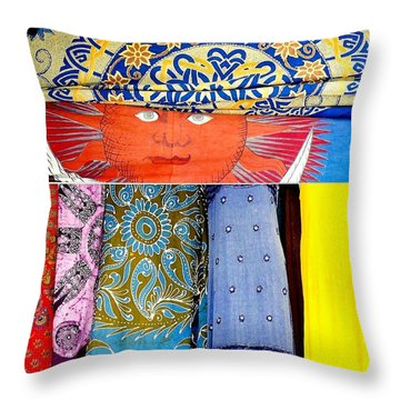 Throw Pillow featuring the photograph New Orleans Eye See Fabric In Lifestyles by Michael Hoard