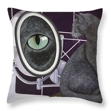Throw Pillow featuring the painting Eye See You by Karen Zuk Rosenblatt
