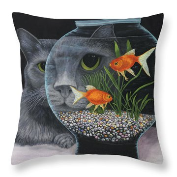 Throw Pillow featuring the painting Eye To Eye by Karen Zuk Rosenblatt