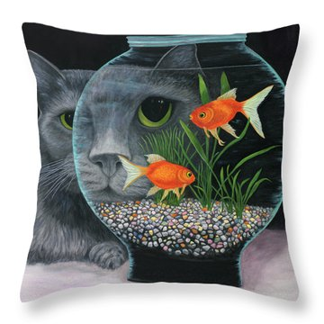 Throw Pillow featuring the painting Eye To Eye Sq by Karen Zuk Rosenblatt