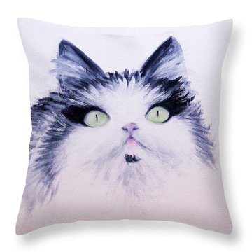 Eyelash Kitty Throw Pillow