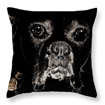 Eyes In The Dark Throw Pillow by Maria Urso