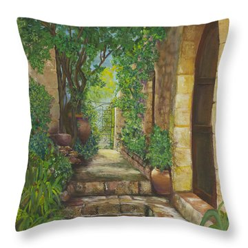 Eze Village Throw Pillow by Alika Kumar