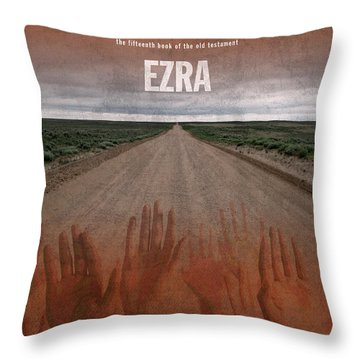Ezra Books Of The Bible Series Old Testament Minimal Poster Art Number 15 Throw Pillow by Design Turnpike