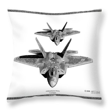 Throw Pillow featuring the drawing F-22 Raptor by Arthur Eggers