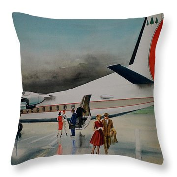 F-27 At Columbus Ohio Throw Pillow