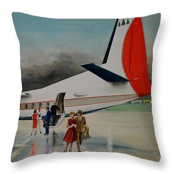 F-27 At Columbus Ohio Throw Pillow by Frank Hunter