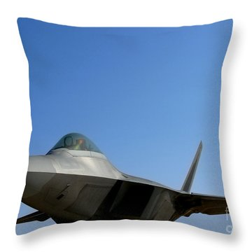 F22 Raptor  Throw Pillow by Olivier Le Queinec