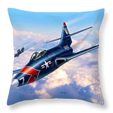 F9f-5p Photo Panthers Throw Pillow by Stu Shepherd