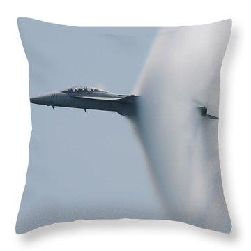 Throw Pillow featuring the photograph Fa 18 Super Hornet Vapor Circle 2 by Donna Corless