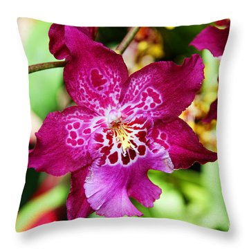 Fabulous Fushia Orchids By Diana Sainz Throw Pillow