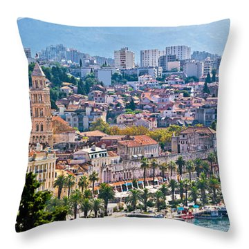 Fabulous Split Waterfront Aerial Panorama Throw Pillow by Brch Photography