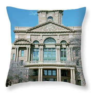 Facade Of A Courthouse, Tarrant County Throw Pillow