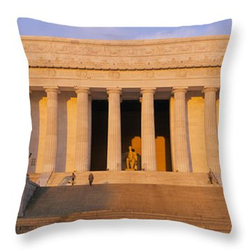 Facade Of A Memorial Building, Lincoln Throw Pillow by Panoramic Images