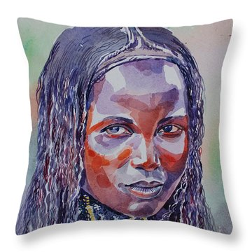 Face From Sudan  1 Throw Pillow by Mohamed Fadul