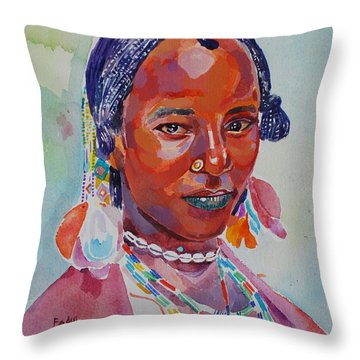 Face From Sudan  2 Throw Pillow by Mohamed Fadul