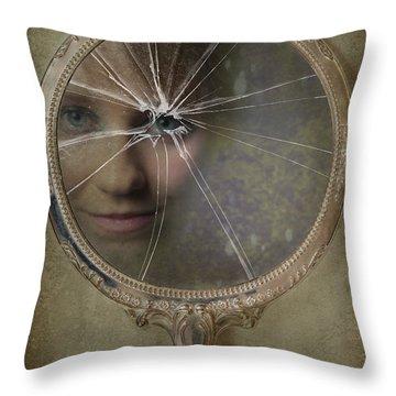 Face In Broken Mirror Throw Pillow by Amanda Elwell