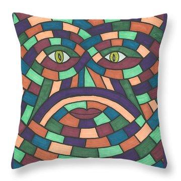 Face In The Maze Throw Pillow