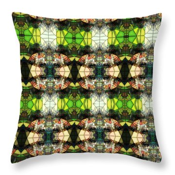 Throw Pillow featuring the photograph Face In The Stained Glass Tiled by Clayton Bruster