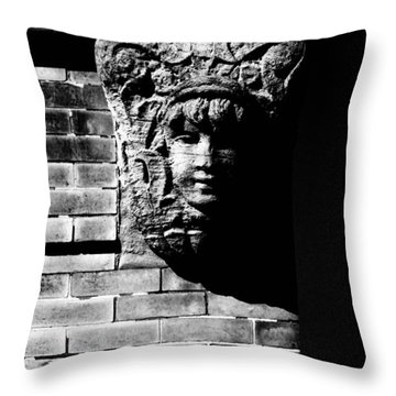 Face Of Stone Throw Pillow by Karol Livote